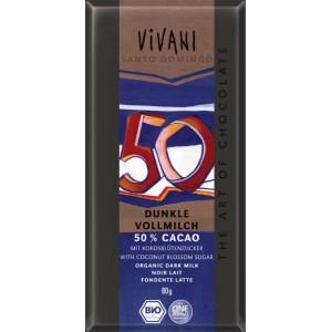 Млечен тъмен шоколад 50% какао