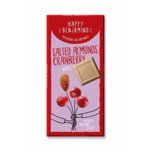 Бял шоколад Солени Бадеми и Червена Боровинка